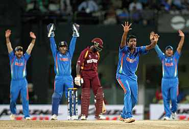 R Ashwin appeals during his match against West Indies