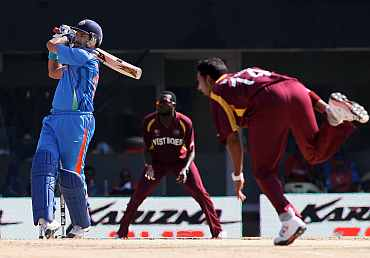 Yuvraj Singh plays a pull shot during his innings against West Indies