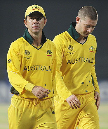 Ricky Ponting (left) and Michael Clarke of Australia leave the field after their defeat to Pakistan