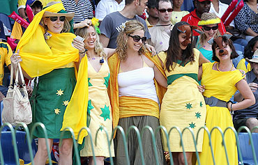 Australian fans enjoy themselves during the match between Australia and Pakistan