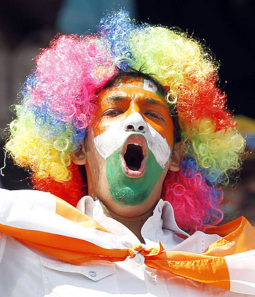 A fan cheers the Indian team during their match against South Africa in Nagpur