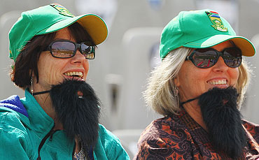South African fans show their support for Hashim Amla during the match between Netherlands and South Africa