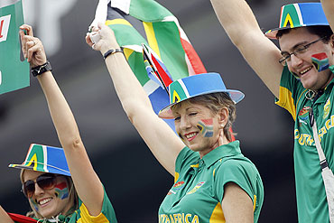 South Africa fans cheer during the match between South Africa and West Indies
