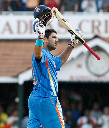 Yuvraj Singh acknowledges the crowd after his century