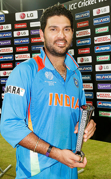 Yuvraj Singh is awarded the Man of the Match