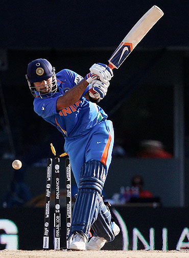 Virat Kohli is bowled by Ravi Rampaul