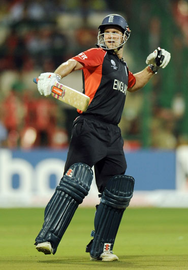 Andrew Strauss punches the air after completing his ton against India