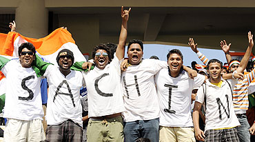 India fans cheer during the match between India and the West Indies in Chennai