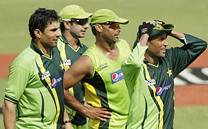 Pakistan's Misbah-ul-Haq, Saeed Ajmal, Shoaib Akhtar and Younis Khan at a practice session in Mirpur