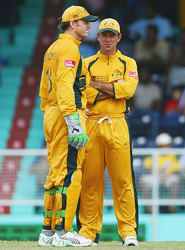 Ricky Ponting (right) and Adam Gilchrist during a 2007 World Cup warm-up match