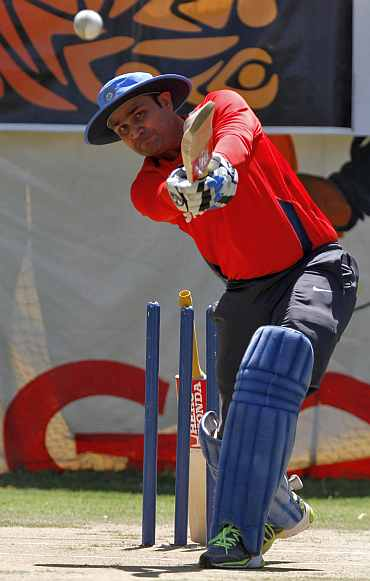 Virender Sehwag during a practice session
