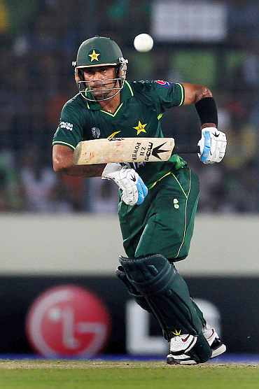 Mohammad Haffez plays a shot during his knock against West Indies
