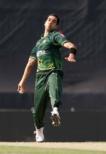 Umar Gul bowls during his match against West Indies