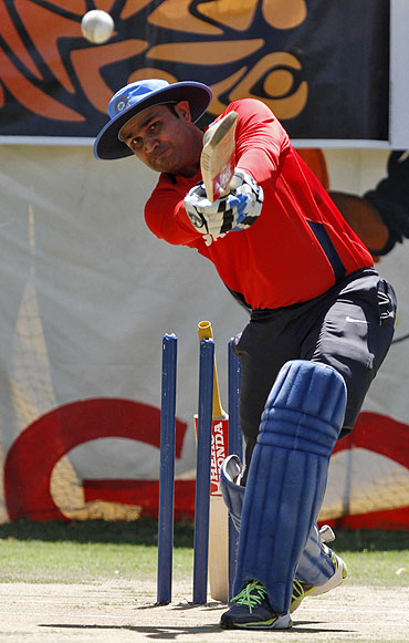 Virender Sehwag at the nets