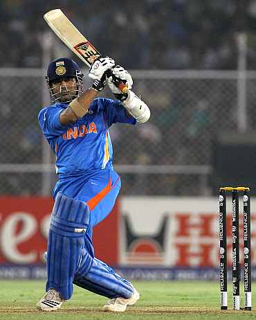 Tendulkar plays a shot during his knock against Australia