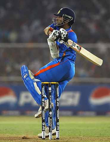 Sachin Tendulkar plays a pull shot during his knock against Australia