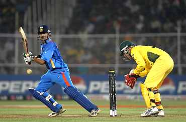 Gambhir plays a square cut during his knock