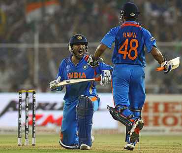 Yuvraj Singh celebrates after the quarter-final match against Australia