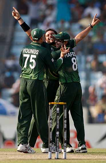 Shahid Afridi celebrates after picking a West Indian wicket