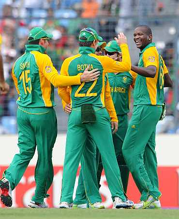 South African players celebrate after picking up a wicket