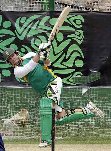 South Africa's AB de Villiers plays a shot during a practice session in Mirpur