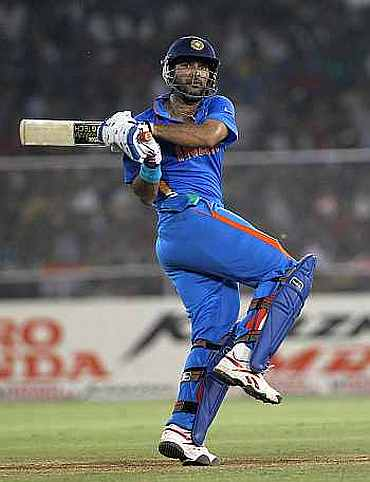 Yuvraj Singh plays a shot during his knock against Australia
