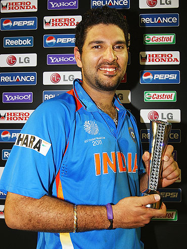 Yuvraj Singh of India with the Man of the Match award