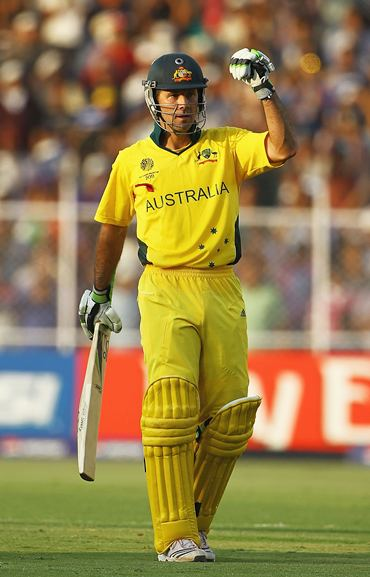 Ponting celebrates after scoring hundred in the quarter-final against India