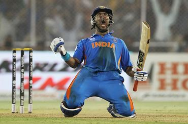 Yuvraj celebrates after scoring the winning runs against Australia