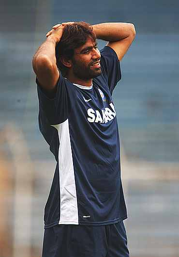 Munaf Patel during a training session