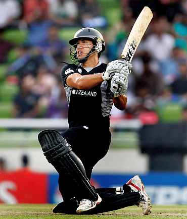 Ross Taylor plays a shot during his knock against South Africa