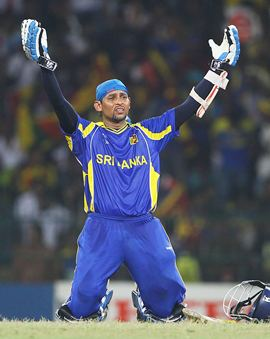 Dilshan after getting to his hundred