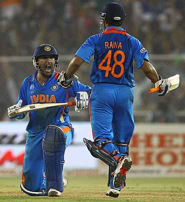 Yuvraj Singh celebrates after beating Australia