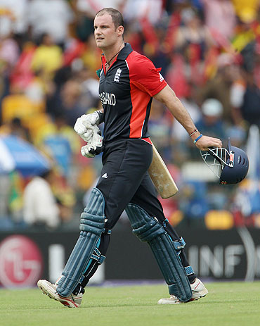 Andrew Strauss walks off after his dismissal
