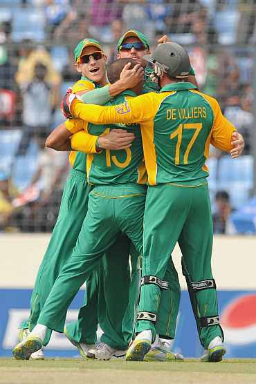 South African team celebrates after picking up a wicket