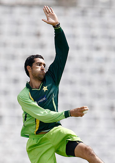 Umar Gul bowls in the nets in Mohali on Monday