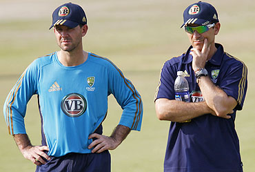 Australian captain Ricky Ponting and batting coach Justin Langer