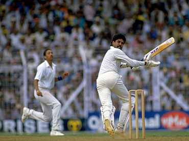 Kapil Dav plays a shot during the 1987 World Cup match against England