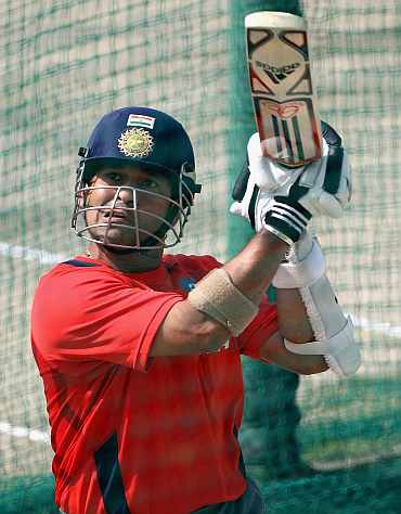 Sachin Tendulkar plays a shot during a practice session