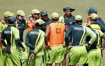 Pakistan team during a practice session in Mohali