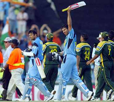 Yuvraj Singh celebrates after winning the 2003 World Cup match against Pakistan
