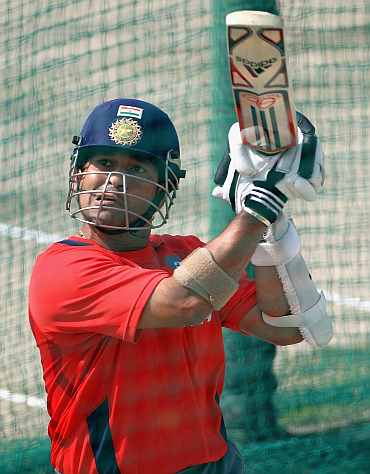 Sachin Tendulkar during a practice session in Mohali