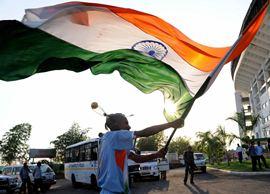 An Indian fan at a World Cup match