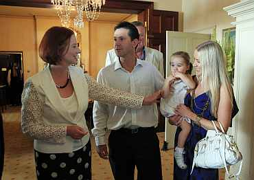 Ricky Ponting and Prime Minister Julia Gillard