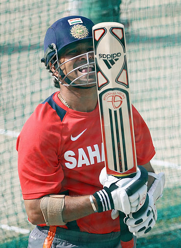 Sachin Tendulkar bats during an India nets session