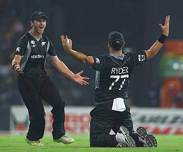 Jesse Ryder reacts after taking a catch of Sri Lanka's Upul Tharanga