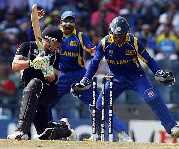 Brendon McCullum looks on after he was clean bowled during his match against Sri Lanka
