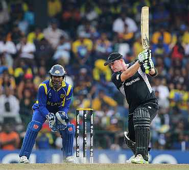 Scott Styris plays a shot during his knock against Sri Lanka