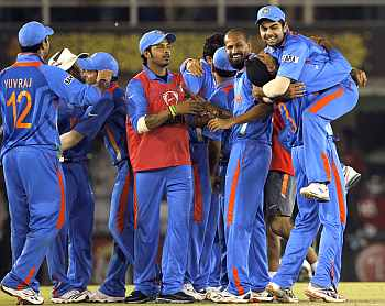 Team India celebrates after clinching victory over Pakistan