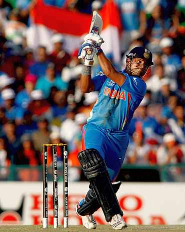 Suresh Raina plays a shot
